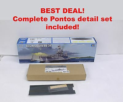 Trumpeter USS New York 1/350 and PONTOS detail set, plus wood deck