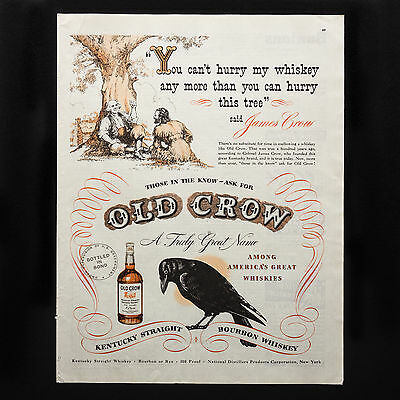 1948 OLD CROW WHISKEY Hurry This Tree vintage print ad large magazine