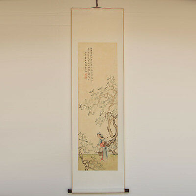 Chinese Watercolour on Xuan Paper Calligraphy & Figure Painting