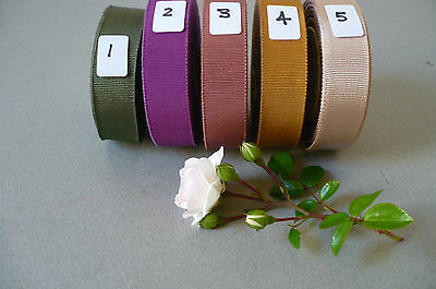 Vintage French Petersham/Grosgrain Ribbon. 5 Lovely Colours. 22mms x 1 Metre