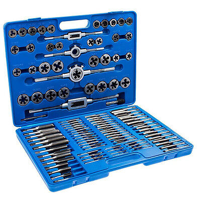 110PCS Tap and Die Set SAE & METRIC Screw Extractor Kit Remover Tool  w/ Cases