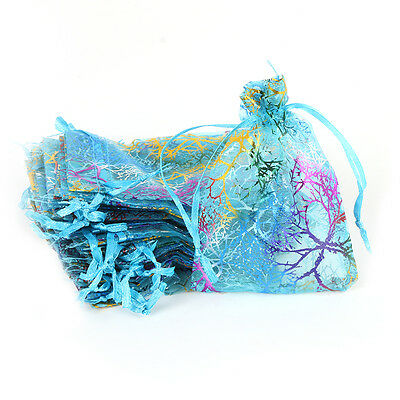 Organza White Gold Printed Coralline Flower Pattern Drawstring Jewelry Gift Bags