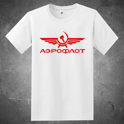 New Aeroflot Russian Airlines Logo Men's White T-Shirt Size S to 3XL