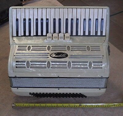 Vintage Piano Accordion Squeeze Box White Pearl Scandalli 224/100