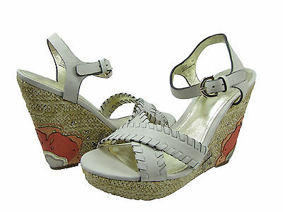 e4ae97bf8 Coach Womens Justeen Off White Tan Platform Ankle Strap Espadrille Wedges  Heels