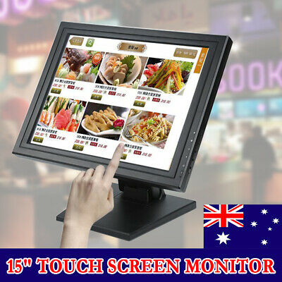 "15"" Interactive POS Touch screen Multi-position Stand LCD Desktop Monitor VGA AU"