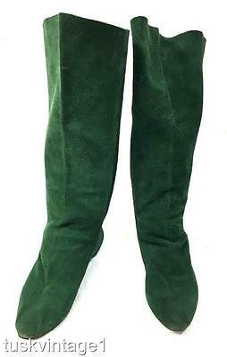 VINTAGE 80s dark GREEN suede TALL high slouch FLAT soled BOOTS 6 6.5
