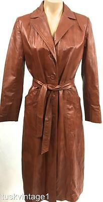VINTAGE 70s Warm TAN LEATHER soft light long length TRENCH jacket COAT 6 8