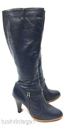VINTAGE 70s Royal navy BLUE soft LEATHER zip up slim high heeled tall BOOTS 8.5