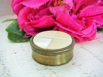 VINTAGE PILL BOX MOTHER OF PEARL TOP BRASS JAPAN see MORE LISTED