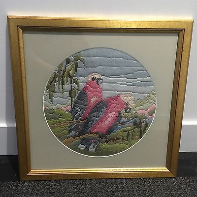 PINK Galah CROSS Long STITCH Framed Gold VINTAGE CHARM Art Bird