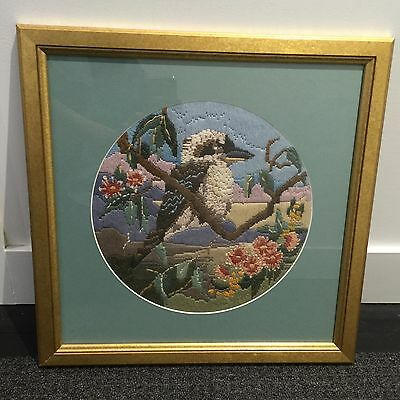 BIRD CROSS Long STITCH Framed Gold VINTAGE CHARM Art Handmade