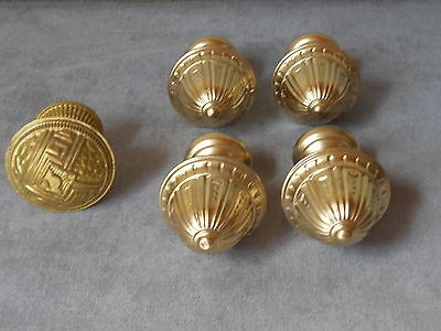 5 Vintage French Brass Curtain Rod Ends Finials