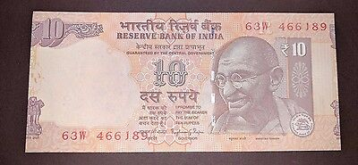 India - 10 Rs Huge Cutting Error - Part Of Next Note On The Right- Gem Unc