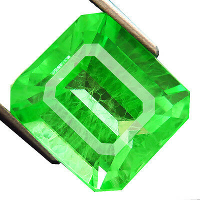 15.55ct Lab-created COLUMBIAN EMERALD CHATHUM EMERALD INDUCED INCLUSION 12.5x14