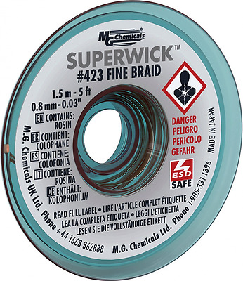 MG Chemicals Desoldering Braid #1 Fine Braid Super Wick with RMA Flux, 5' Length