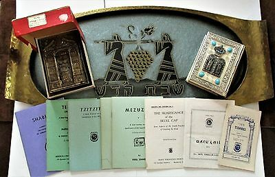 ULTIMATE JUDAICA LOT-Antique BRASS HAMMERED heirloom Challah Tray w/ 10 books!!