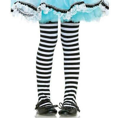 Black & White Stripe Girls Tights Child Funky Kids Alice in Wonderland Halloween