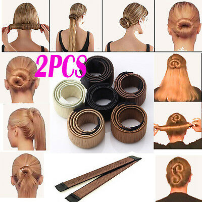 Neu 2 Pack Damen Fashion Hair Styling Donut Hair Bun DIY Dutt Maker (schwarz)