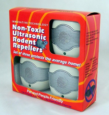 Ultrasonic Rodent Repeller Direct Plug In Set of 3 Registered with Health CANADA