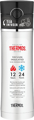 THERMOS 16 Ounce Drink Bottle with Tea Infuser, Black