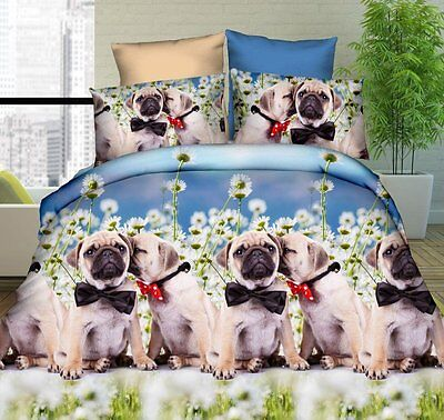 3D Animal Pug Dog Pet Effect 4 Piece Duvet Quilt Cover Fitted Sheet Pillowcases