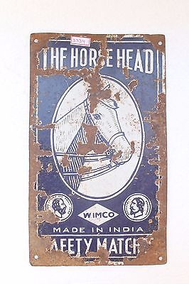 Vintage Horse Head Wimco Safety Matches Ad Porcelain Enamel Sign Board NH3334