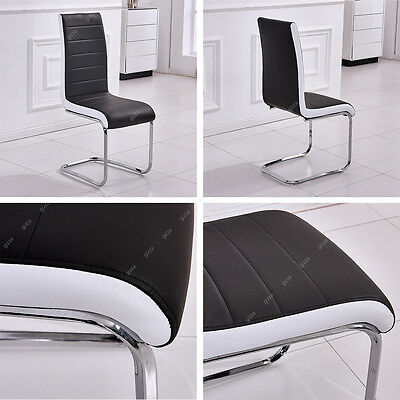 Gizza Dining Chairs 2/4/6 Pcs Modern  Black White Artificial Leather Chrome Legs