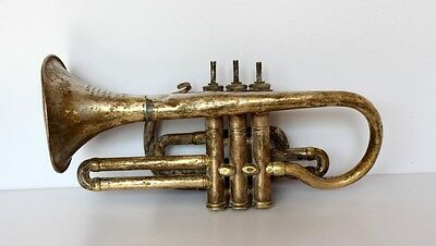 Antique old Hand Made Brass Cornet Music Instrument