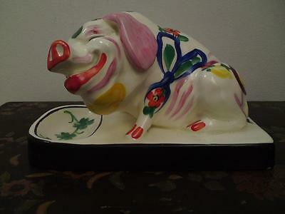 Hand painted pottery pig figure sculpture novelty comical happy face expression