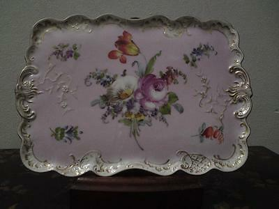 19th century German pastel pink painted flowers Dresden VI Klein porcelain tray
