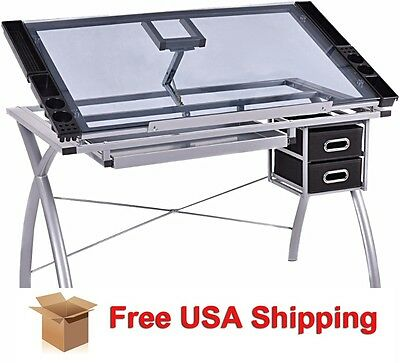 Portable GLASS Drawing Art Craft Scrapbook Adjusting Drafting Table Desk Hobby