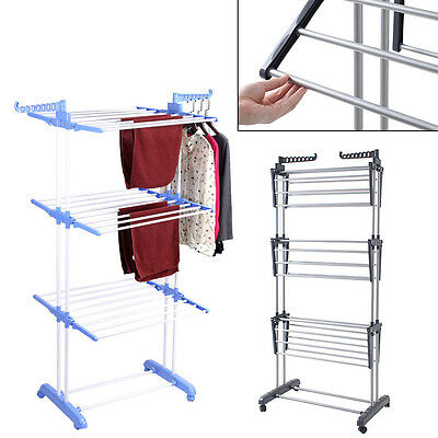 Fordable 6 Tiers Indoor Clothes Laundry Drying Rack Airer Horse Garment Hangers