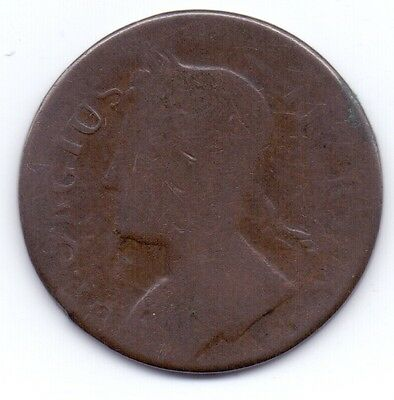(rare!?) 1771 GEORGE II, COPPER HALF-PENNY (facing left yet clearly dated 1771!)