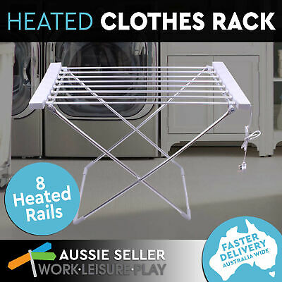 8 Heated Towel Rack Rail Electric Warmer Clothes Dryer Hanger Laundry Airer 120W