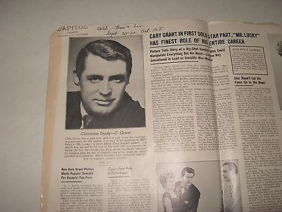 Capital Theater brockville CARY GRANT & LARAINE DAY papers movie  MR LUCKY 40s