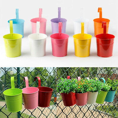 Flower Pots 10 Colors Metal Iron Hanging Balcony Garden Planter Home Decoration