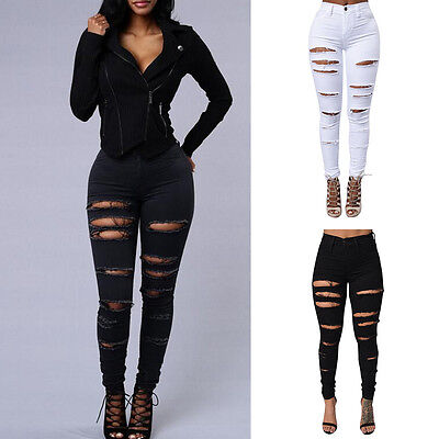 Women Distressed Destroyed Ripped High Waist Denim Jeans Skinny Leggings Pants