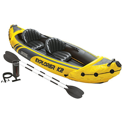 Intex Explorer K2 Kayak, 2-Person Inflatable Kayak Set with Aluminum Oars and Hi