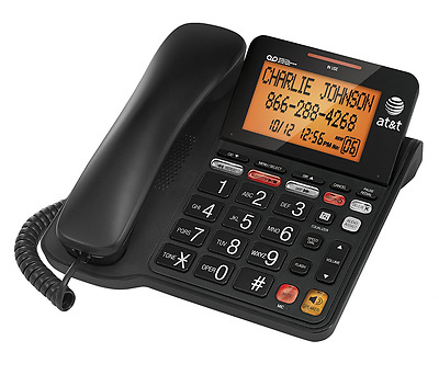 AT&T Corded Phone with 25 min Digital Answering Machine, Backlit Tilt Display, A