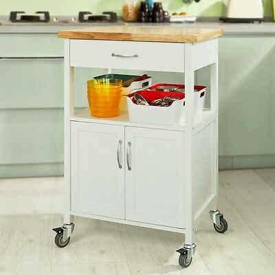 SoBuy Kitchen Trolley Cart with Doors, Home/Office Storage Cabinet, FKW22-WN, UK