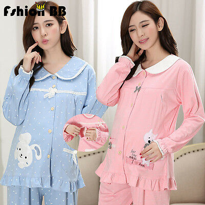 Pregnant Nursing Clothes Maternity Lace point Pyjama Set Breastfeeding Sleepwear