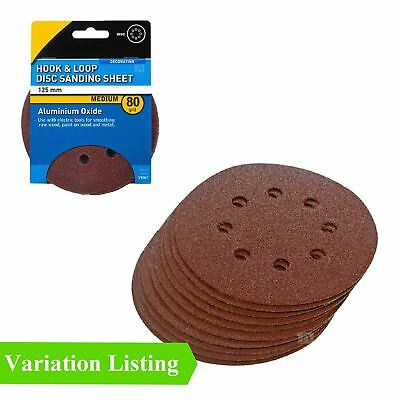 Hook and Loop 125mm Sanding Discs 80 Grit Velcro Palm Orbital Sandpaper Pads
