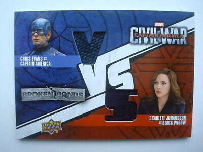 2016 *Captain AMERICA: Civil War* Dual Costume/Relic Card BBV-CW Black WIDOW