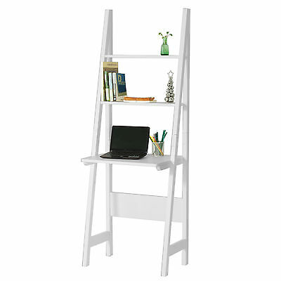 SoBuy® White Modern Ladder Storage Display Shelf,Desk and 2 Shelves, FRG60-W, UK