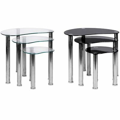CARA NEST OF TABLES Clear Black Glass Units Modern End Tables Stainless Steel