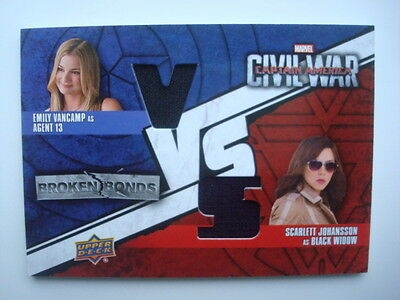 2016 **Captain AMERICA Civil War** Dual Costume Card BBV-BS Black WIDOW Agent 13