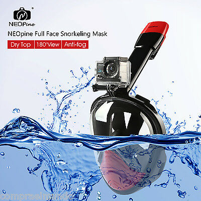 NEOpine Full Face Snorkeling Mask Scuba Diving Swimming Snorkel Set For Gopro UK