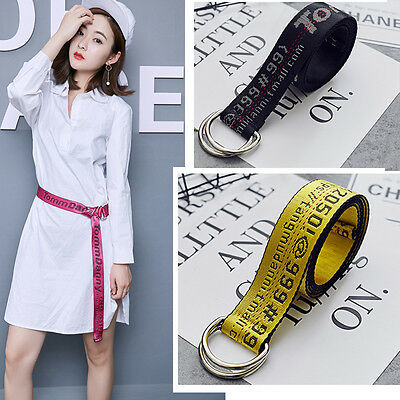 Fashion Women's Belt OFF WHITE Letter Embroidered Yellow Canvas Unisex Waistband