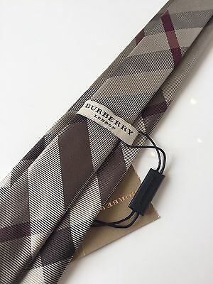 Authentic BURBERRY Modern Cut Check SILK TIE | BNWT | Slim | Smoked Trench Color